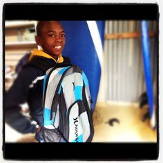Huge smiles THKS to Hurley_SA and Jochaid Salie thank-you for the backpacks. Surfshack Surf Outreach and Volunteer program Cape Town,South Africa.