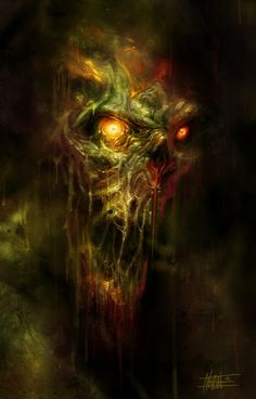 monster from the swamp by *michalivan. Maybe some LEDs in a foam skull, some moss, nice paint job. Zombie Kunst, Arte Zombie, Zombie Art, Arte Horror, Horror Art, Dark Fantasy Art, Fantasy Artwork, Fantasy Creatures, Mythical Creatures