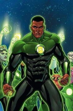 The Green Lantern (John Stewart) 17 Black Superheroes And Where To Read More About Them Dc Heroes, Comic Book Heroes, Comic Books Art, Comic Art, John Stewart Green Lantern, Marvel Fanart, Green Lantern Corps, Green Lanterns, Black Green Lantern