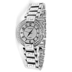 FW856B Shiny Silver Band weißen Zifferblatt-Dame-Frauen Stilvolle Kristall-Armband-Uhr