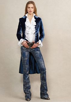 velvet jacket and a ruffled shirt exude regal femininity, while hand-finished denim adds a rocker edge Denim Fashion, Boho Fashion, Winter Fashion, Fashion Outfits, Womens Fashion, Fashion Design, Super Moda, Looks Style, My Style