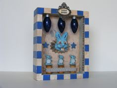 Lucky Bunny - Mixed Media Assemblage in Royal Blue. Yesterday's Trash, via Etsy.