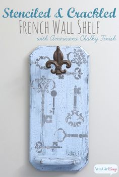 French Shabby Chic Crackle Paint Wall Shelf