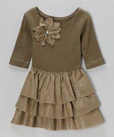 Take a look at this Dark Khaki Blossom Ruffle Tier Dress - Toddler & Girls by Nikkiloo on #zulily today!