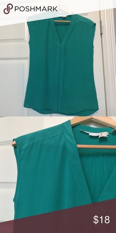 100% Silk Max Studio V-Neck Top Size S Teal Green Silk Sleeveless button down top.  Worn once - in perfect condition. French Connection Tops Blouses