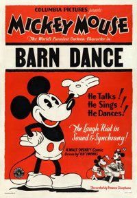 "Mickey Mouse in The Barn Dance (Columbia, 1929). Stock One Sheet (29"" X 42"")"