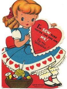 """for Valentines day. =) Wonderfully cute vintage """"Sew sure you're the one"""" Valentine's Day card. My Funny Valentine, Valentine Images, Vintage Valentine Cards, Vintage Greeting Cards, Vintage Holiday, Valentine Day Cards, Vintage Postcards, Happy Valentines Day, Valentine Hearts"""