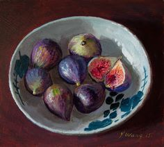 Wang Fine Art: figs in a bowl, still life painting for kitchen