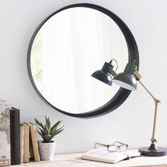 Spiegel met metalen lijst, zwart, diameter 60 cm, CLIFFORD