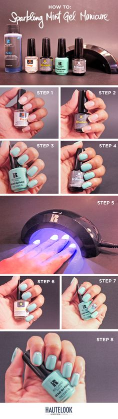 How to: Sparkling Mint Gel Manicure by @mizzglitterme for HauteLook & Red Carpet Manicure
