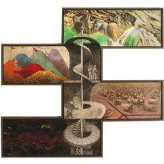 "Caldermeyer's ""Game Rooms""  38"" X 38""  Oil and Encaustic on Wood, Framed"