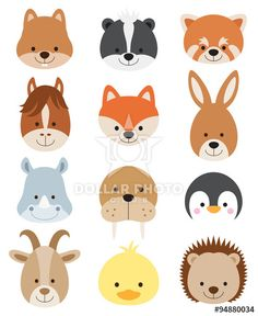 Vector illustration of animal faces including squirrel, hamster, skunk, red panda, horse, fox, kangaroo, rhino, walrus, penguin, goat, duck, and hedgehog.
