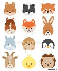 Vector illustration of animal faces including squirrel, hamster, skunk, red panda, horse, fox, kangaroo, rhino, walrus, penguin, goat, duck, and hedgehog.