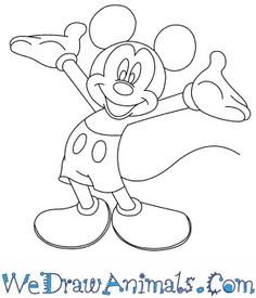 mickey mouse easy draw drawing cartoon step drawings characters steps disney beginners tutorial