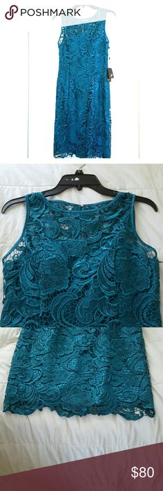Adriana Papell Jade Colored Lace Dress Beautiful Adriana Papell dress is jade or teal colored, and more green than blue, so I would call it jade. Color is hard to reflect in photos, better in person and absolutely gorgeous. My mother purchased this recently and changed her mind but never returned it. I believe it is still being sold online for a very high price, so this listing is much discounted from its original. Has never been worn and has all the tags. Is being kept on the hanger with a…