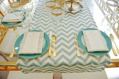 Mint Green And Gold Wedding Inspiration table decor .. chevron table runner