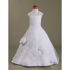Lanting Bride ® A-line / Princess Floor-length Flower Girl Dress - Organza / Satin Sleeveless Square withAppliques – USD $ 99.99