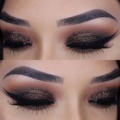Sparkly, Dark Glitter Eye Makeup Look