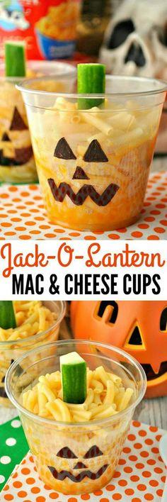 Jack-o'-lantern mac and cheese cups