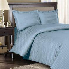 Egyptian Bedding 100% Egyptian Cotton 600 Thread Count 4 Peice Bed Sheet Set, Blue Stripe, King Size