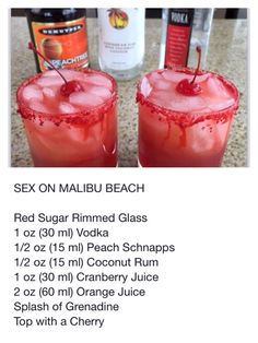 Rum cocktails, understand the secrets to your huge host of a of our own most commemorated mix recipes. Liquor Drinks, Non Alcoholic Drinks, Cocktail Drinks, Beverages, Summer Cocktails, Malibu Cocktails, Fancy Drinks, Cocktail Recipes, Cranberry Juice And Vodka