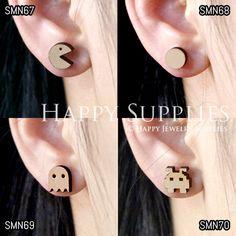 4pcs Mini SMN67-70 DIY Laser Cut Wooden Earring Charms SWC