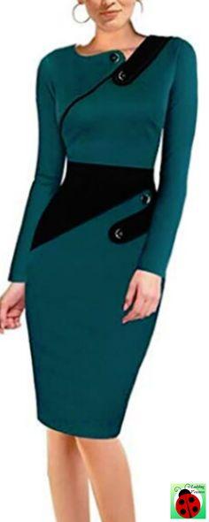 b8cf9d72f8231a Zumeet Women Slim Pencil Skirt Knee Length Work Evening Dress Green