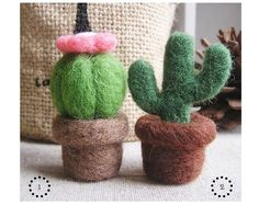 DIY Handmade Wool Felt Kit with detailed English color instruction manual - Cactus Succulent Plant Needle Felted Ornaments, Felted Wool Crafts, Felt Ornaments, Wool Felting, Cactus Planta, Cactus Y Suculentas, Crafts To Do, Felt Crafts, Felt Succulents