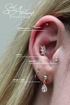 Conch Piercing Jewelry, Industrial Piercing Jewelry, Ear Jewelry, Cute Jewelry, Body Jewelry, Unique Jewelry, Unique Body Piercings, Cool Ear Piercings, Types Of Ear Piercings