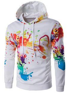 $11.91 Colorful Splatter Paint Hooded Long Sleeve Hoodie
