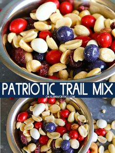 Patriotic Trail Mix Recipe is the perfect snack for all your holiday celebrations Great for Memorial Day or of July parties This salty-sweet grub is a favorite to eat during all the patriotic family events like parades fireworks too of July Party Fourth Of July Decor, 4th Of July Desserts, 4th Of July Celebration, 4th Of July Party, Mini Desserts, Patriotic Party, Patriotic Recipe, Fourth Of July Recipes, 4th July Food