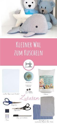 Kleiner Wal zum Kuscheln - gratis DIY Anleitung und Schnittmuster