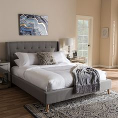 Contemporary Fabric Bed by Baxton Studio (Beige - Queen) Upholstered Platform Bed King, Upholstered Beds, Full Size Platform Bed, Platform Beds, Sleep Number Mattress, Wingback Headboard, Couple Bedroom, Bed Reviews, Baxton Studio
