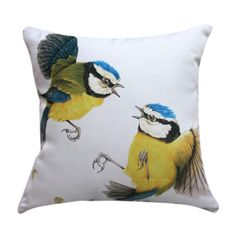 "18"" Square Couple Birds Print Polyester Decorative Pillow Cover  #cushions #pillows #decor #pattern #country #homedecor #livingroom"
