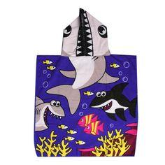 Dependable Children Mermaid Shark Pattern Towel Beach Bath Unisex Fun Soft Hodded Towel Bathing & Grooming