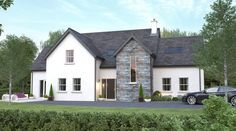 Front of house idea, but with more light above front door and wider vertical win. - Front of house idea, but with more light above front door and wider vertical window on stone front - House Plans Mansion, Luxury House Plans, Dream House Plans, Modern House Plans, Stone Front House, House Front, House Designs Ireland, Dormer House, L Shaped House