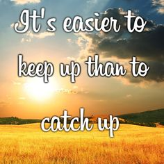 "So true: ""It's easier to keep up than to catch up.""  This applies to everything — cleaning your home, work tasks, etc. Stop procrastinating and start living!"