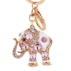 Amazon.com : Lucky Elephant Colorful Opal Rhinestone Plating Women Car/Bag Keychain Purse Charm - Pink : Office Products | @giftryapp