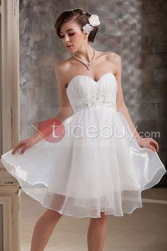 Aラインミニスイートハートネックオーガンザウェディングドレス