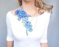 SALE statement necklace // large flower lace bib //  by LaceFancy