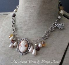 NECKLACE vintage shell cameo glass pearl drops by TheFrenchCircus