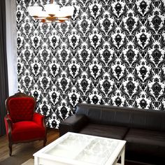 Damsel Self Adhesive Wallpaper in White and Black design by Tempaper