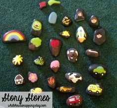 Story Stones.  I always have trouble coming up with new ideas.  This is a great way to have the story develop.