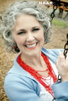 Image result for curly gray hair styles