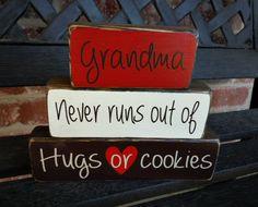 Decorative wood blocks- Grandma never runs out of hugs.
