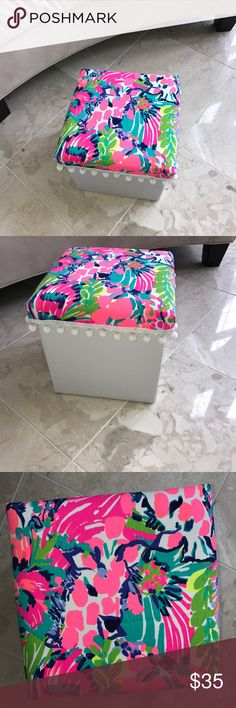 "Gumbo Limbo Ottoman New white storage Ottoman upholstered in Lilly Pulitzer Gumbo Limbo pattern and pompom trim. Great for storage and decor. Measures 12x12x12"" Accessories"