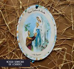 Santinho Estilo Retrô - Oração: Nossa Senhora de Lourdes.