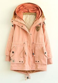 The Vogue Fashion: Pink Plain Cotton Blend Padded Coat