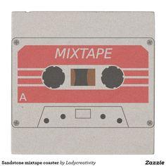 Sandstone Mixtape Coaster Stone Beverage Coaster Mixtape C Ette Tape Art Online Public Domain