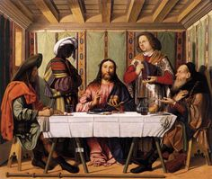 medievalpoc:  Marco Marziale Supper at Emmaus Italy (1506) Oil on Panel, 122 x 141 cm Gallerie dell'Accademia, Venice (via wga.hu)
